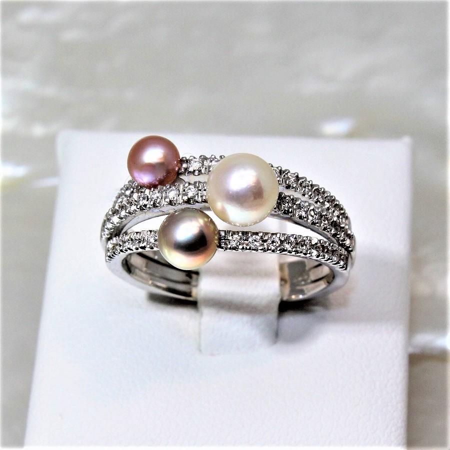 haute couture sélectionner pour l'original disponible Bague OG750 diamants et perles de culture rondes