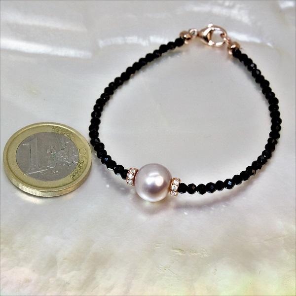 bracelet spinelles noires facett es perle d eau douce lavande mercuri gioielli. Black Bedroom Furniture Sets. Home Design Ideas