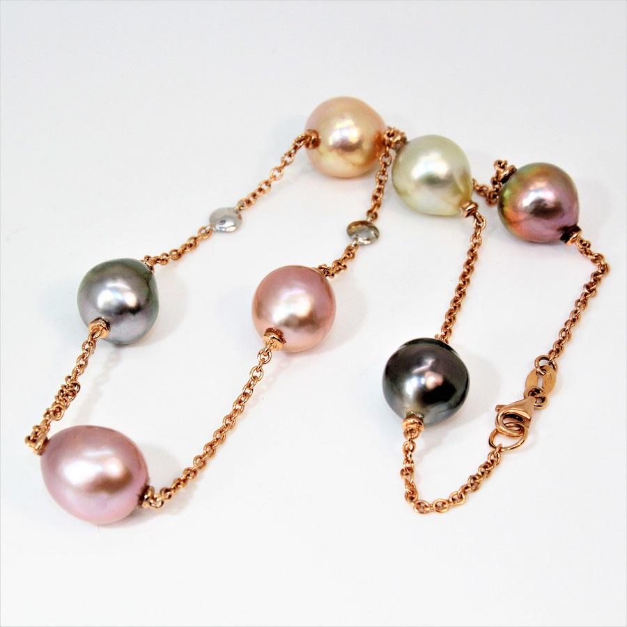 collier or rose 18kt diamants perles de culture mers du sud bq 11 12 mm mercuri gioielli. Black Bedroom Furniture Sets. Home Design Ideas