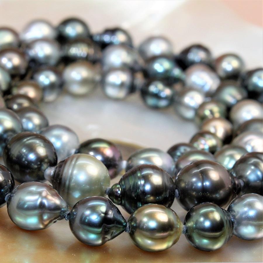 Sautoir 100cm De Perles Noires De Tahiti Bq O 10 13 Mm Mercuri
